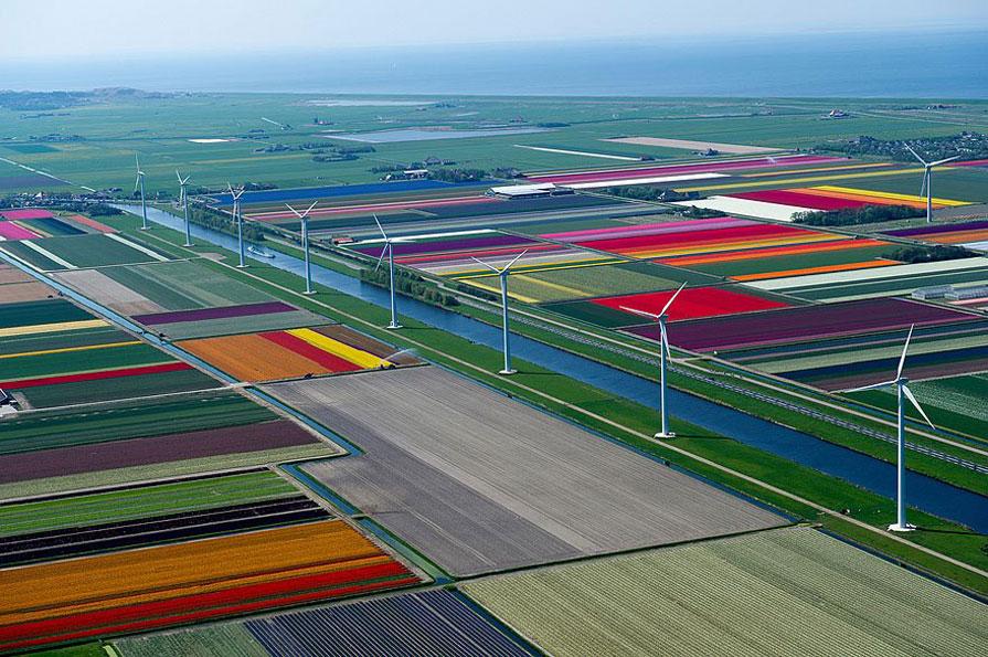 8 van de 9 molens van 'Windpark Burgervlotbrug' vanuit de lucht