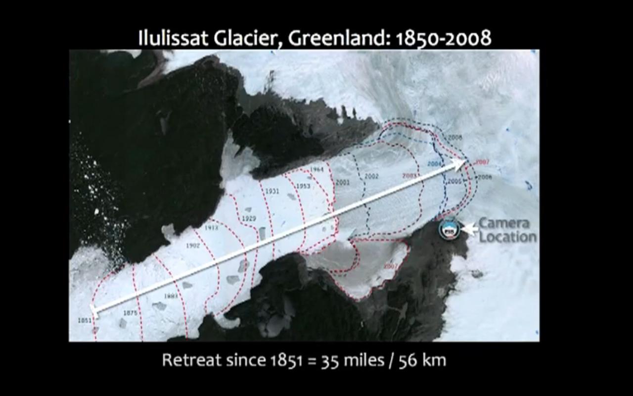 foto uit de video van de afbrokkelende gletsjer