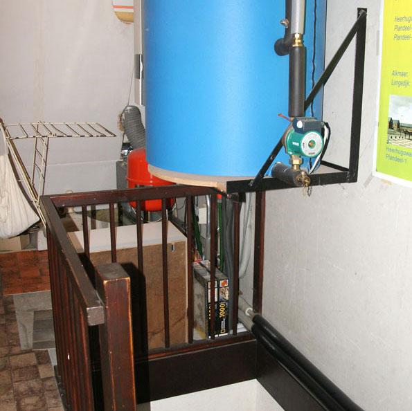 ruimte voor het voorraadvat warmwater van de zonneboiler