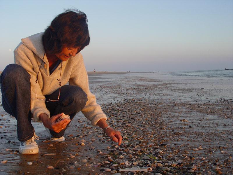 Marian zoekt schelpen bij de ondergaande zon
