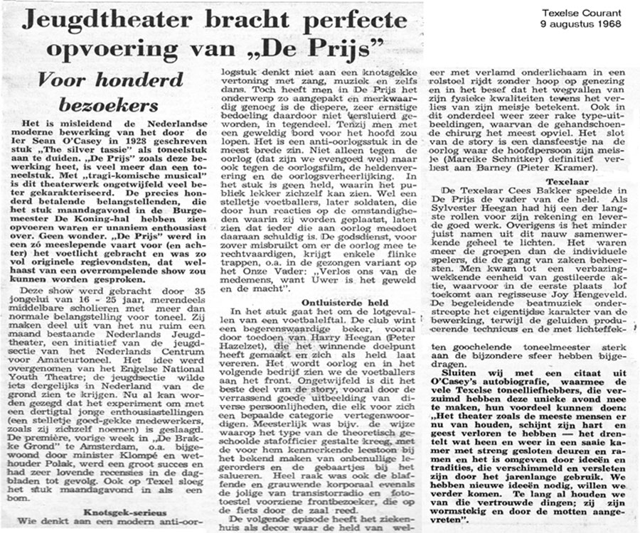 Recensie Texelse Courant 9 aug 1968: Perfect!